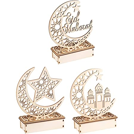 Islam Eid Ramadan Mubarak Hollow Decoration Wooden Lantern Decoration DIY H U6R8