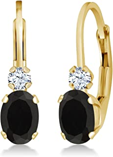 Gem Stone King 0.86 Ct Oval Black Onyx White Created Sapphire 14K Yellow Gold 3/4 Inch Earrings