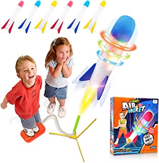 POKONBOY Toy Rocket Launcher for Kids Outdoor Toys, 6 LED Light Foam Rockets and Launcher - Play Rocket Soars Up to 100 Fe...