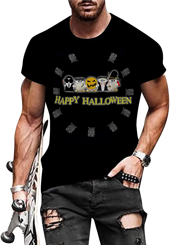 Huangse Men's Halloween Skull Silhouette T-Shirts Black Heavy Metal Hip-hop Skeleton Short Sleeve Street Fashion Tee Shirt