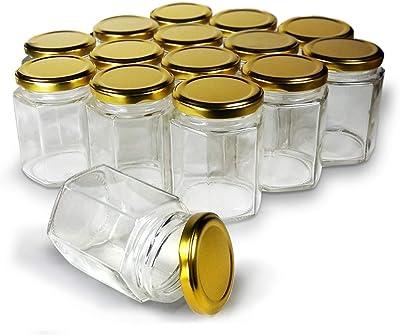 Rudra Villa Hexagon Glass Jars with Gold Lid (4 pcs)