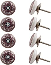 Indian-Shelf Handmade Ceramic Flower Cabinet Knobs Flat Wardrobe Pulls Dresser Handles(Red, 1.5 Inches)-Pack of 8