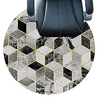 丸い椅子のクッション カーペット用コンピューターフロアマット、オフィスチェアマット、堅木張りの床に適しています、滑りやすい椅子、カールのないフラット、コンピューターデスクフロアマット、丸いカーペット(Size:90cm(35in),Color:E)