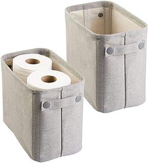 mDesign range revue pour la salle de bains (lot de 2) – rangement papier toilette – range serviettes – en coton – gris clair