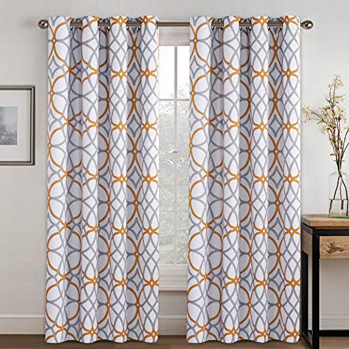 Blackout Curtains for Living Room - Functional Blackout Curtains/Panels for Bedroom, Thermal Insulated, Privacy Assured (Set of 2, 52 x 96 Inch, Mustard and Grey Geo Pattern)