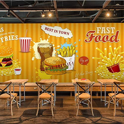 3D foto behang, Fast Food Hamburger Frans Fries Restaurant Koffie Dessert Winkel Behang, Eetkamer Behang Mural 208 cm (B) x 146 cm (H)