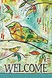 Toland Home Gartenflagge mit abstraktem Vogel, 31,8 x 45,7 cm, dekorativ, farbenfroh, künstlerischer Baum, Vögel, Zweig, Garten-Flagge