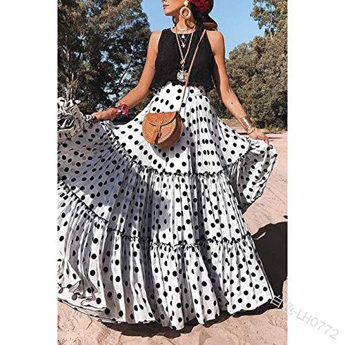 Rock Für Frauen,Vintage Maxirock Zigeunerkleid Lotusblatt Schwarze Punkte Weiße Taille Elegantes Kleid Für Sommer Mädchen Damen Party Büro Strand Hochzeit, XL