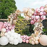 Unisun Kit de 109 globos de látex pastel con globos de helio metálico oro rosa dorado metálico para cumpleaños, boda, novia, fiesta de bebé