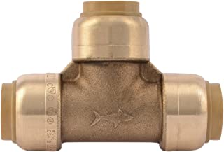 SharkBite U362LFA Tee Plumbing Pipe Connector 1/2 In, PEX Fittings, Push-to-Connect, Copper, CPVC, 1/2-Inch by 1/2-Inch by 1/2-Inch,