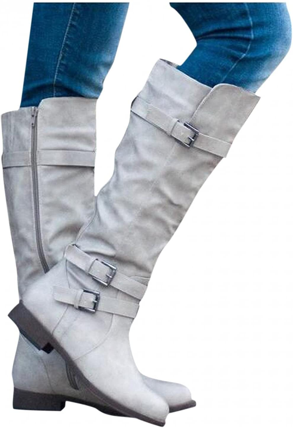 Bcshiye Women's Knee High Riding Kne Buckle New Shipping Free Shipping Sales of SALE items from new works Heel Low Boots