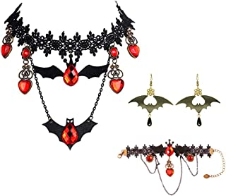 Songlanbuy Halloween Necklace Earrings Vampire Masquerade Mask Vintage Vampire Black Lace Gothic Lolita Red Pendant Choker Necklace Punk Rock Collar Gothic Necklace Cosplay