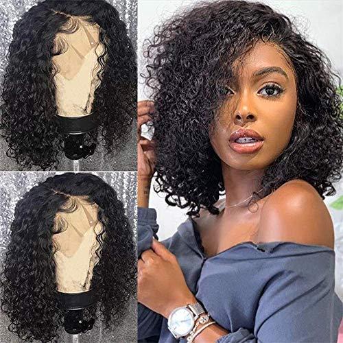 BLISSHAIR 12 Pouces Lace Wig Human Hair Curly Cheveux Naturels Brésilienne Perruque Meche Cheveux Wig Cap Afro Femme Bouclés Noir