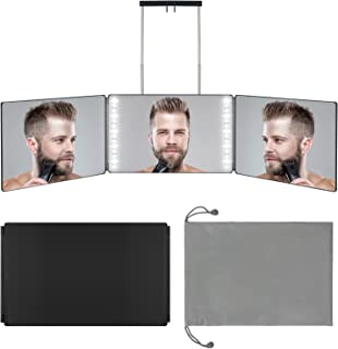 Rechargeable 3 Way Mirror, Real Glass Adjustable Trifold Mirror with Light & Telescoping Hooks for Self Hair Cutting & Sty...