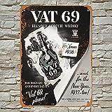 1936 Vat 69 whisky escocés vintage retro metal estaño cartel decoración de pared para tienda hombre cueva bar hogar garaje