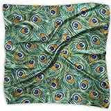 Multi-Colors Design Square Satin Womens Neck Head Bufanda Bufandas Tela verde Plumas de pavo real