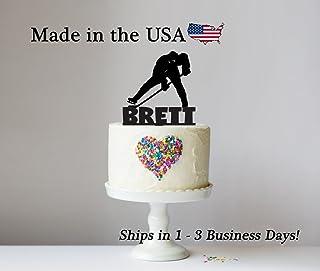 Hockey Cake Topper with FREE Keepsake Base, Ice Hockey, Sports Theme, Boys Birthday Party, Tailgate Party, Personalized Keepsake