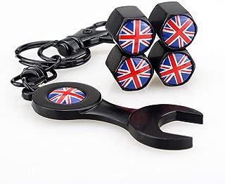 Flypc Mini Cooper Union Jack British Flag with 4pcs Tire Valve Stem Caps +Keychain Set Accessories Decal Parts for BMW Mini Cooper R55 R56 R57 R58 R60 R61 F55 F56
