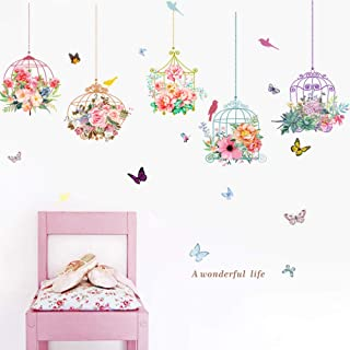 Birdcage Butterfly Flowers Background Wall Decoration Removable Wall Stickers