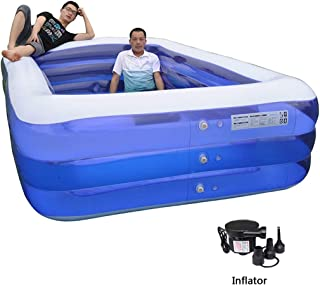 Piscina Inflable Gran Patio Piscina Inflable multiple Piscina for ninos Planta Rectangular Piscina Inflable (Color : Blue- Size : 210 x 155 x 68cm)