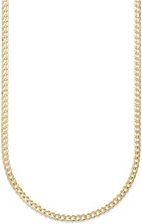 18K Solid Yellow Gold 3mm Cuban Curb Link Chain Necklace- Made in Italy-18 Karat…