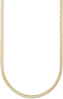 18K Solid Yellow Gold 3mm Cuban Curb Link Chain Necklace- Made in Italy- 30