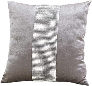 DELIBEST 4 fundas de cojín, elegante ambiente, simple, moderno, diamante, noble, lujoso, decorativo, con cremallera, fundas de almohada para sofá cama, 40 x 18 cm, color gris