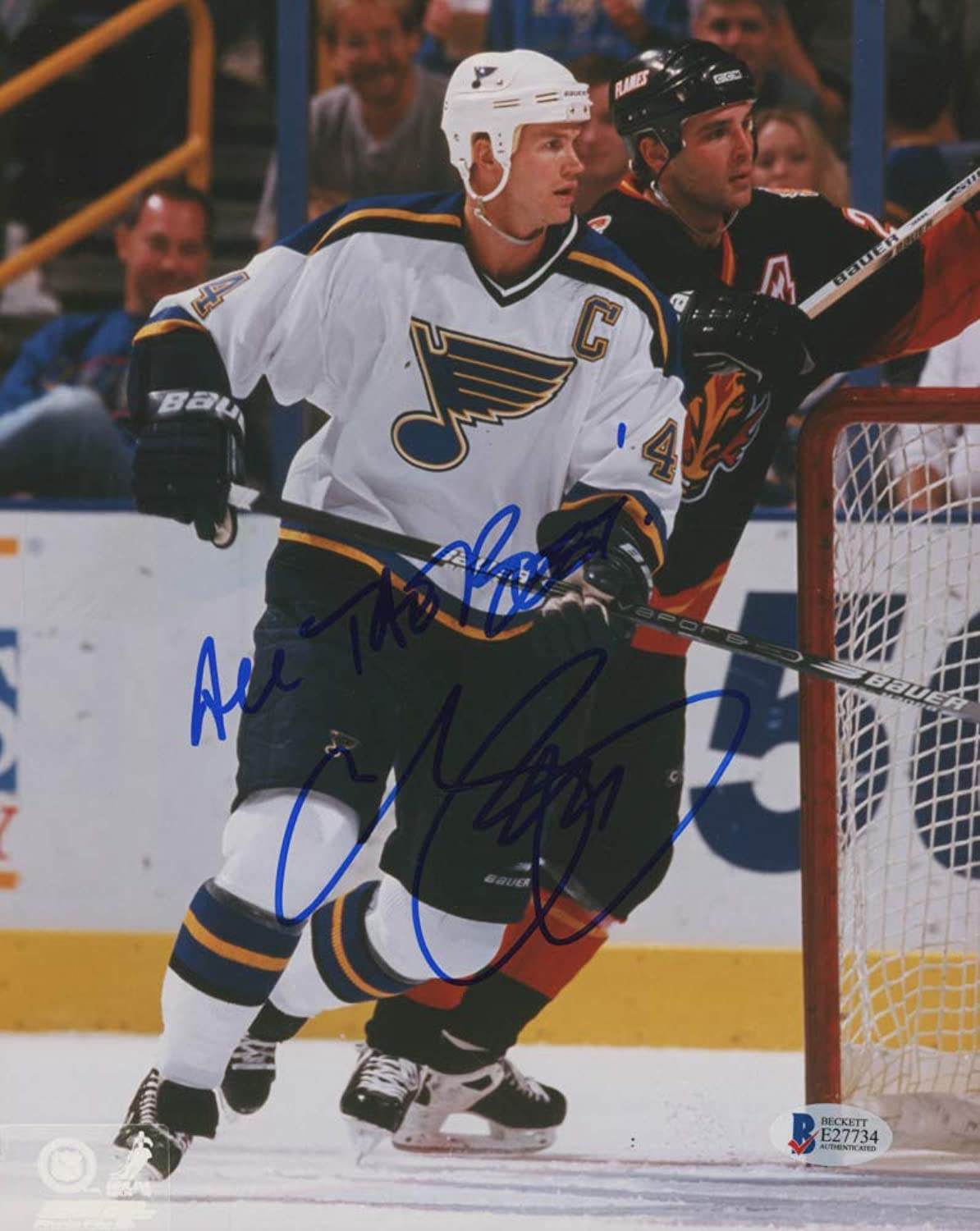 Chris Pronger Signed blueees 8x10 Photo Inscribed All The Best  (Beckett COA)