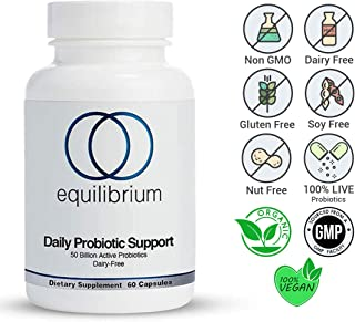 Equilibrium Nutrition Daily Probiotic Support, Dairy Free, High-Potency, Natural,50 Billion Live Probiotics Strain, Helps Improve Digestion, Metabolism & Energy for Children and Adults. 60 Capsules.
