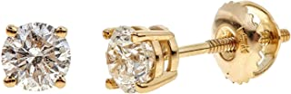 Certified Brilliant-Cut Diamond Classic 4-Prong Screw-Back Stud Earrings in 14k White or Yellow Gold (I1-I2 Clarity) - Choice of Carat Weights
