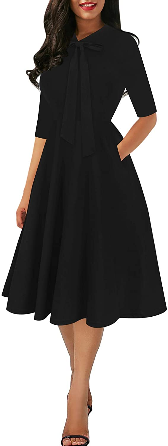 oxiuly Women's Chic Bow Tie V Neck Pockets Midi Work Dress Elegant A-Line Cocktail Party Tea Dresses OX378