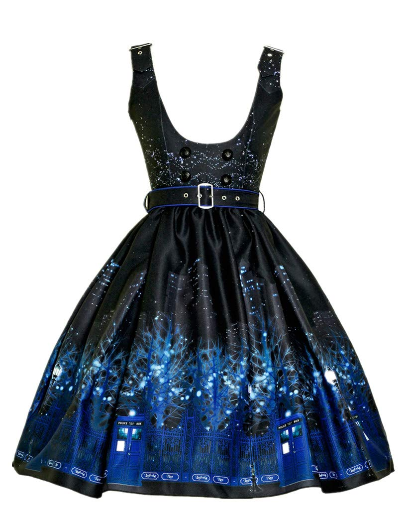 Available at Amazon: Fanplusfriend Cyber Punk Dress Underbust JSK Midi Dress Police Box Print Dress