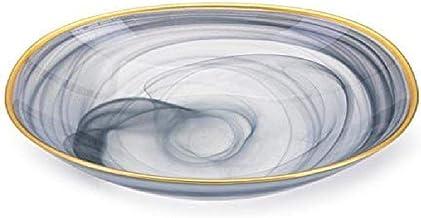 Imax 83904 Yazel Glass Bowl, Gray Swirl with Metallic Gold Tone Trim