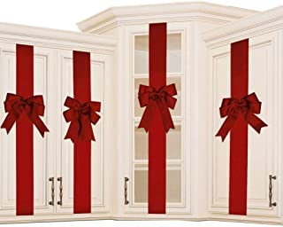 K KIRKWOOD KITCHEN 4 PCS Cabinet Door Festive Ribbons and Bows Decoration Holidays