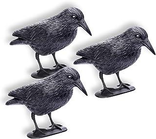 comprar comparacion Schramm® 3 Piezas Cuervos sentados Paloma Negra Miedo a los pájaros Miedo a los Cuervos de plástico Defensa de Las Palomas