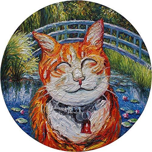 Pintura al óleo pintada a mano con diseño de gato de Monet sobre lienzo estirado moderno Pop Room Art Decor