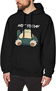 Evmjser Snorlax Not Today Men's Casual Long Sleeve Hooded Sweater Tops Size M Black