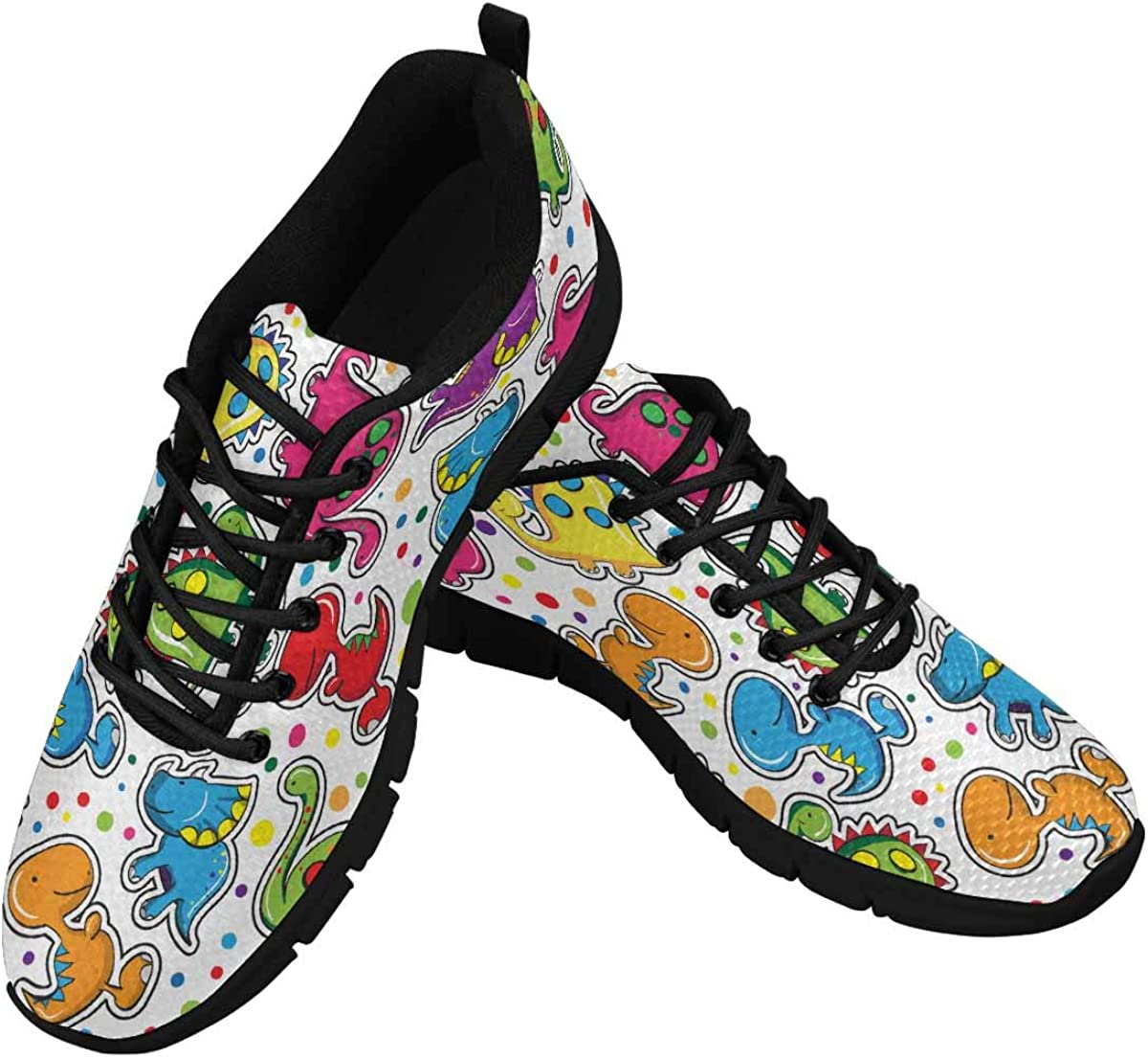InterestPrint Cute Dinosaurs Women's Athletic Mesh Breathable Casual Sneakers