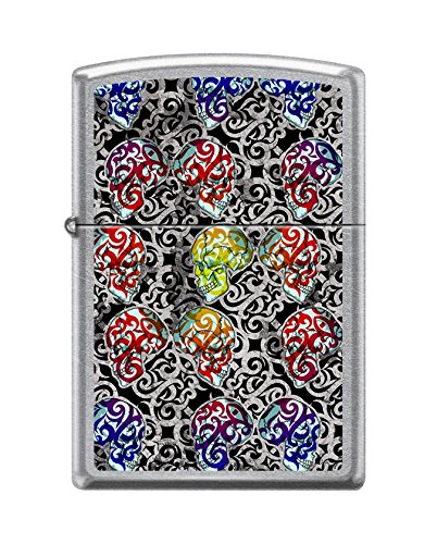 Zippo Custom Lighter Design Colorful Day of The Dead Skulls Windproof Collectible Lighter - Cool Cigarette Lighter Case Made in USA Limited Edition & Rare