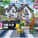 Liwenjun Fond D'Écran Mural Ciel Bleu Maison De Paille Multicolore Petit Chien Jardin Paysage Enfants Fond D'Écran 3D Fond...