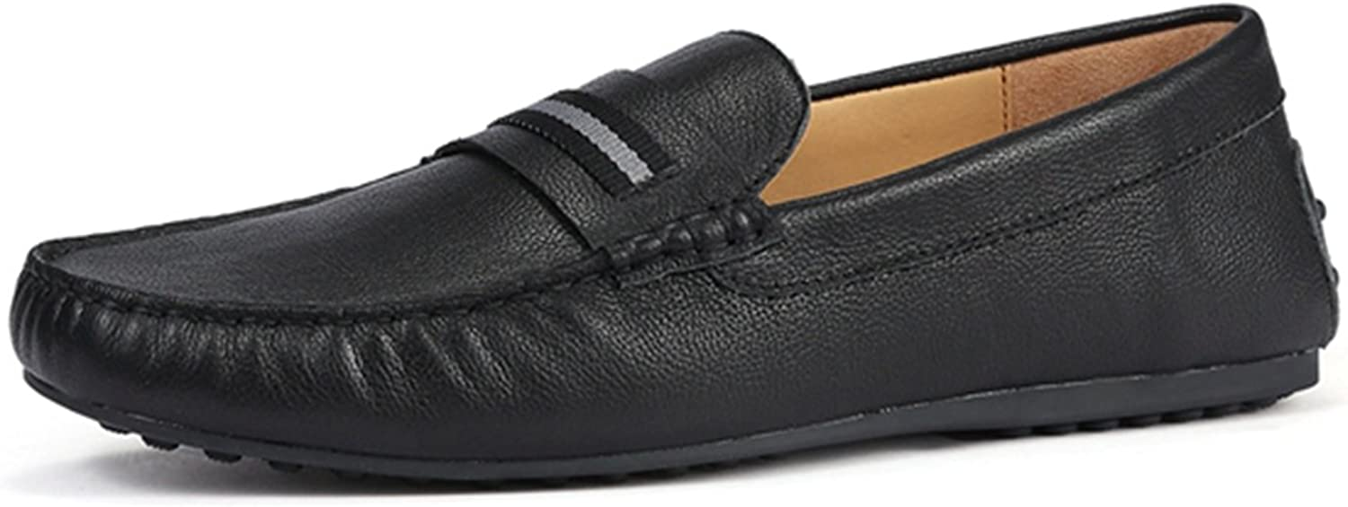 Miyoopark Men's Stripe Slip-on Leather Casual Loafers Dress shoes