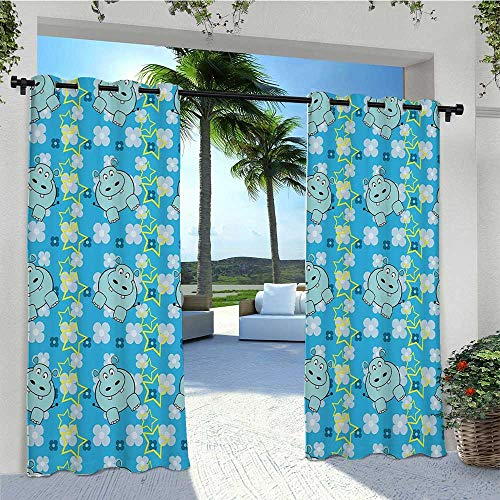 Blackout Curtains Funny Cartoon Hippopotamus with Stars and Cute Daisy Flowers Public Divider Thermal Insulated Outdoor Drape Block The Sun and Be Water Proof Light Blue White Yellow W96 x L84 Inch