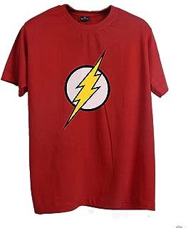 Wyhnot Men's 100% Cotton Superhero Flash Logo Big Bang Theory Inspired T-Shirt, Regular Fit, Round Neck, Red