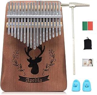Apelila 17 Key Kalimba Thumb Piano, Solid Mahogany Wood Body