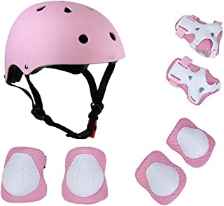 KIKIGOAL Child Multi-Sport Helmet with Knee Pads Elbow Wrist Protection Set for Skateboard Cycling Skate Scooter