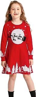 SMILING PINKER Girls Christmas Ugly Dress Reindeer Santa Warm Sweater Jumper
