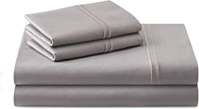 MALOUF Supima Premium Cotton Sheets-100 Percent American Grown Long Staple-Sateen Weave-Extra Deep Pockets-Single Ply-600 ...
