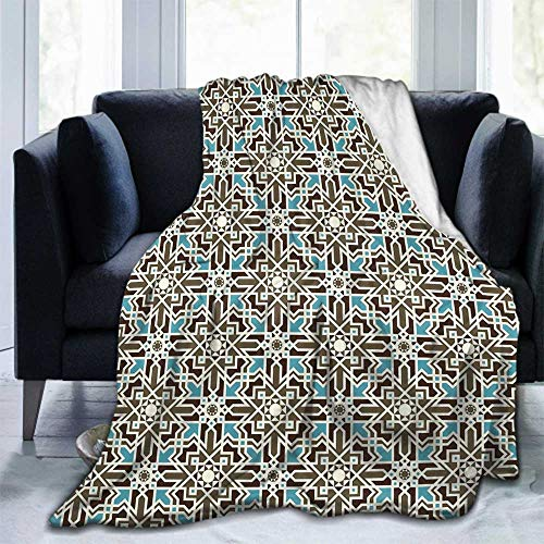 championCEL Brown and Blue Lightweight Cozy Bed Blanket Super Soft Throw Blanket fit Couch Sofa for Living Room Suitable for All Season 60'x50' Taupe Pale Blue Brown