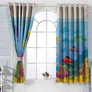 NineThing Aquarium Customized Curtains Funny Cartoon Style Underwater Scenery with Various Animals and Treasure Chest 63
