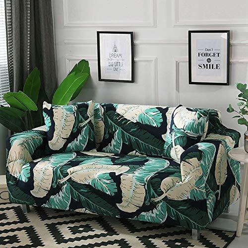 Funda de sofá con diseño de Hoja nórdica, Funda de sofá elástica de algodón, Fundas de sofá universales para Sala de Estar, A4, 3 plazas